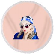 Young Beautiful Retro Girl In Glasses Round Beach Towel