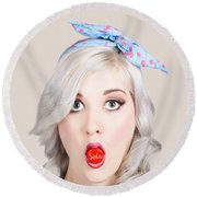 Young Beautiful Woman Holding A Bottle Cap In A Mouth Round Beach Towel