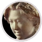 Young Girl-part-arttopan Carving-realistic Stone Sculptures-marble Round Beach Towel