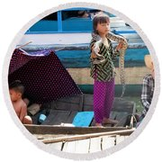 Young Girl With Snake 2, Cambodia Round Beach Towel