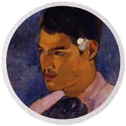 Young Man With A Flower Behind His Ear 1891 Round Beach Towel