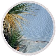 Yucca Plant In Rippled Sand Dunes In White Sands National Monument, New Mexico - Newm500 00113 Round Beach Towel