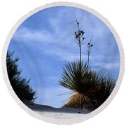 Yucca Plant In Rippled Sand Dunes In White Sands National Monument - Newm500 00107 Round Beach Towel