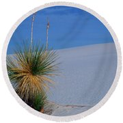 Yucca Plant In Sand Dunes In White Sands National Monument, New Mexico - Newm500 00112 Round Beach Towel