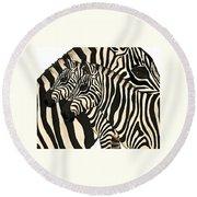 Z Is For Zebras Round Beach Towel