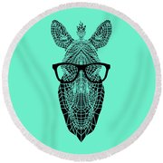 Zebra In Glasses Round Beach Towel