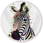 Zebra Watercolor Painting Round Beach Towel