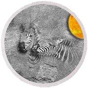 Zebras No 02 Round Beach Towel