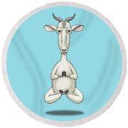 Zen Goat Meditating Round Beach Towel
