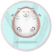 Zen Hedgehog Meditating Round Beach Towel