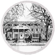 Zeta Tau Alpha Sorority House, Purdue University, West Lafayette, Indiana, Fine Art Print Round Beach Towel