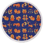 Zodiac Signs Set Round Beach Towel by Ariadna De Raadt