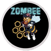 Zombee Zombie Bee Halloween For Beekeeper Apiarist Dark Light Round Beach Towel