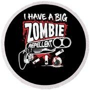 Zombie Repellent Halloween Funny Gun Art Dark Round Beach Towel