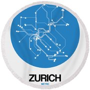 Zurich Blue Subway Map Round Beach Towel