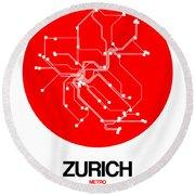 Zurich Red Subway Map Round Beach Towel