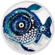 Enter The Icehole Fish Round Beach Towel