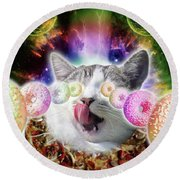 Funny Space Pizza Cat With Rainbow Laser Donut Eyes ...