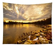 Androscoggin River Between Lewiston And Auburn Tapestry