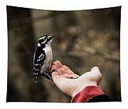 Downy Woodpecker In Hand Tapestry
