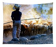 Herder Going Home In Mexico Tapestry
