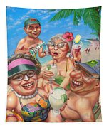 Humorous Snowbirds On Vacation - Senior  Citizen Citizens - Beach - Illustration  Tapestry