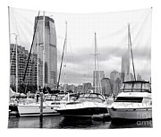 Marina In Black And White Tapestry