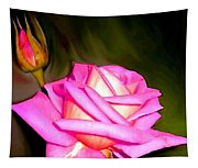 Painted Pink Rose Tapestry