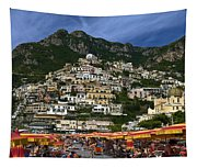 Positano Crowded Beach Tapestry