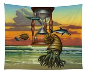Prehistoric Animals - Beginning Of Time Beach Sunrise - Hourglass - Sea Creatures Square Format Tapestry