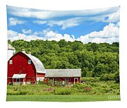Red Farmstead In Summer Tapestry