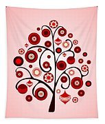 Red Ornaments Tapestry