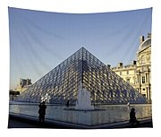 The Glass Pyramid Of The Musee Du Louvre In Paris France Tapestry