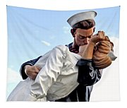 Closeup Nurse And Sailor Kissing Statue Unconditional Surrender Tapestry