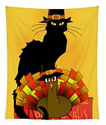 Thanksgiving Le Chat Noir With Turkey Pilgrim Tapestry