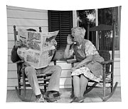 1970s Elderly Couple In Rocking Chairs Tapestry