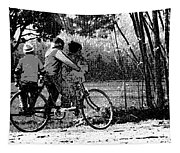 3 Young Children On A Cycle At The Side Of The Road Tapestry