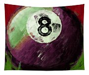 8 Ball Billiards Abstract Tapestry