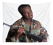 African American Man With Gun Tapestry