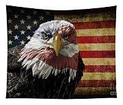 American Bald Eagle On Grunge Flag Tapestry
