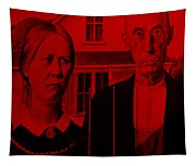American Gothic In Red Tapestry