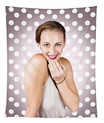 Attractive Young Retro Girl With Look Of Surprise Tapestry