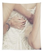 Back Of Wedding Dress With Helping Hands Of Bridesmaids Tapestry