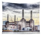 Battersea Power Station London Snow Tapestry