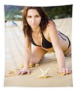 Beach Fun With A Gorgeous Brunette Tapestry