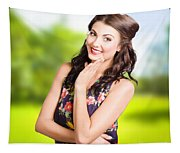 Beauty Girl. Beautiful Young Woman With Clean Skin Tapestry