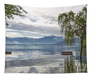 Bench With Trees On A Flooding Alpine Lake Tapestry