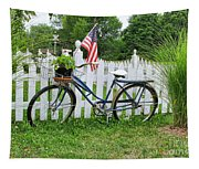 Bicycle And White Fence Tapestry