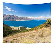 Blue Surface Of Lake Hawea In Central Otago In New Zealand Tapestry