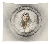 Boating Pin-up Woman On Nautical Shipping Voyage Tapestry